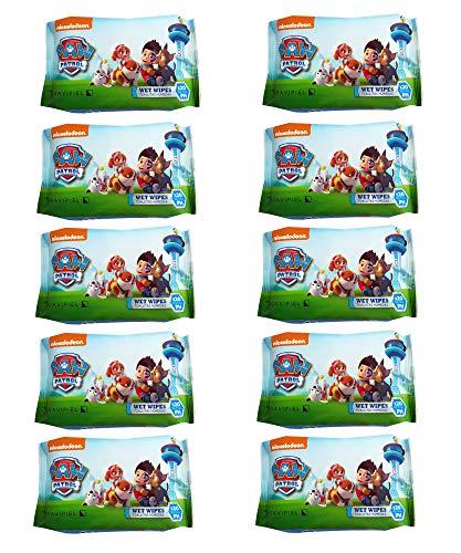 Toallitas húmedas infantiles de la Patrulla Canina. Caja con 10 pack de 20 toallitas cada uno. Cómodo tamaño pocket para llevar en bolsillo, viajes, mochila o bolso.