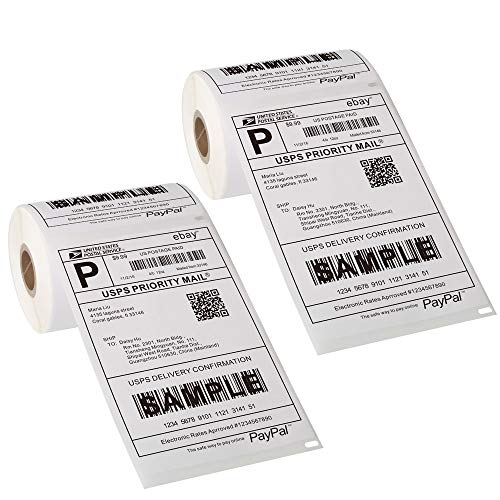 """[2 Rolls, 440 Labels] 4""""x 6"""" Postage Thermal Shipping Labels Compatible with Dymo 4XL 1744907 LabelWriter"""