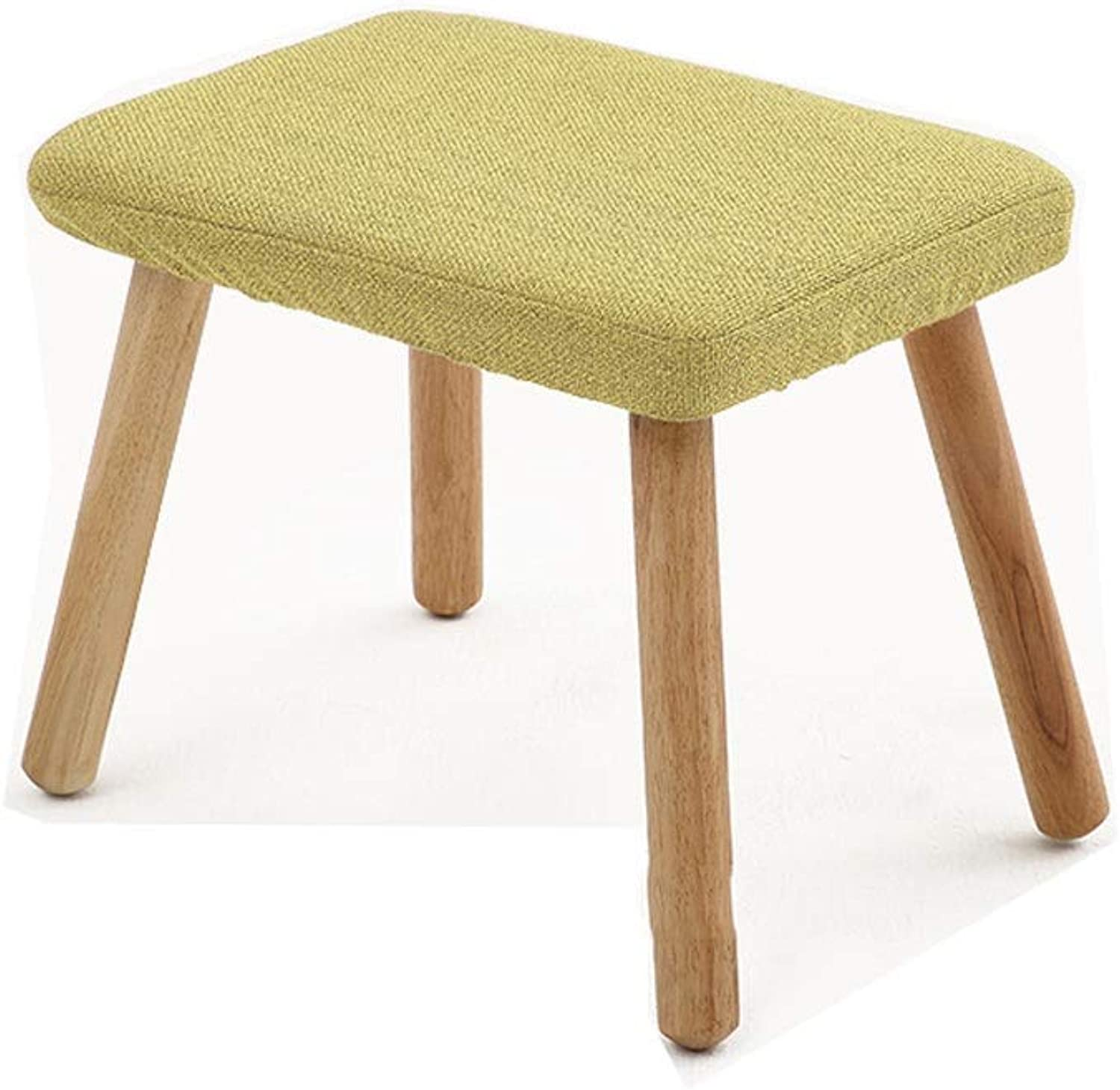 A+ Wooden Stackable Square Stools, Home Living Room Dressing Table Makeup Chair,Padded Cushioned Detachable Linen Four-Legged Stool-34cmX24cmX28cm (color   Green)