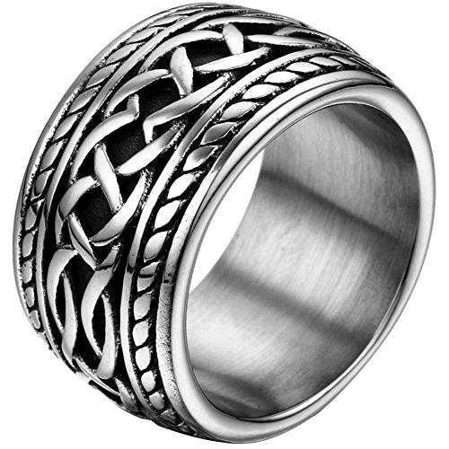 JewelryWe Schmuck 14,3mm Breite Biker Edelstahl-Ring Daumenring Punk Rock Stil Herren Farbe Silber Größe 59