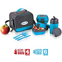 Lunch Box Bag Set for Adults and Kids ~ Pinnacle Insulated Leakproof Thermo Lunch KitLunch BagThermo bottle2 Lunch ContainerMatching Cutlery ~Blue
