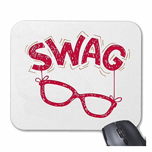 Reifen-Markt Mousepad SWAG NERD GLASSES GEEK Nerdbrille VIDEO GAMES CHAMPIONS LEAGUE GAMES VIDEO GEEK LANPARTY voor uw laptop, notebook of pc internet (met Windows Linux, etc.) wit