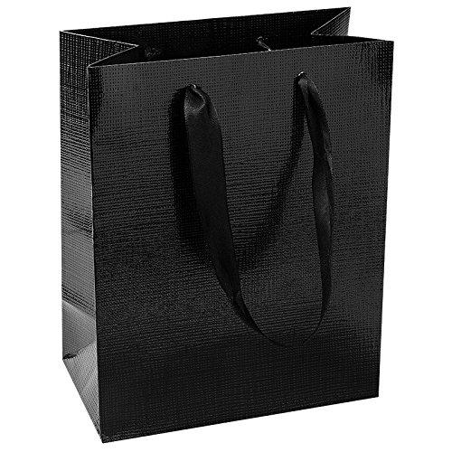Edle Geschenktaschen, 23cm x 18cm x 10cm, aus Papier | geprägt & lackiert | Geschenkverpackung, Geschenktüte für Mitbringsel, Mitgebsel, Geburtstagsgeschenke, Weihnachtsgeschenke | 3 Stück (schwarz)