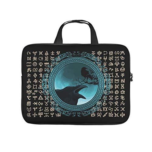 Viking Crow Odin Raven 3D Print Laptop Bag Protective Case Soft Neoprene Laptop Case Bag Funny Tablet Bag with Handle