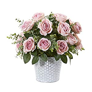 nearly natural 16in. rose and eucalyptus artificial tin vase silk arrangements, pink silk flower arrangements