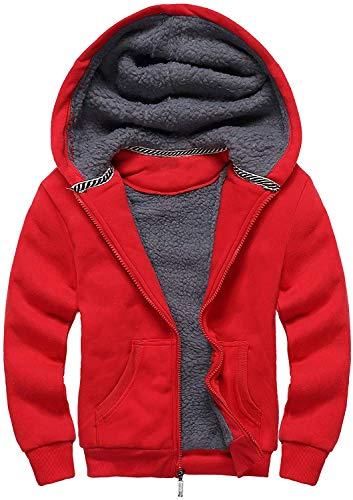SwissWell Kinder Basic Kapuzenjacke Fleecejacke Übergangsjacke Durchgehender Reißverschluss Winddichte Outdoorjacke Atmungsaktiv Warme Langarmjacke Rot - 152-158 cm/XL