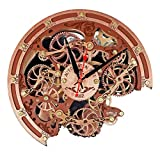 Automaton Bite Copper and Brown Wall Clock, Handcrafted Steampunk Decor, Mechanical moving Gears, Wooden Home Kitchen Living Room and Office interior design, Personalized Decorative Art, Custom Gift