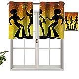 Cortinas opacas con ojales, cortinas cortas, cenefa, bailando en discoteca, club nocturno con pelo afro estilo bokeh, juego de 1, cortinas de cocina de 91,4 x 45,7 cm para sala de estar