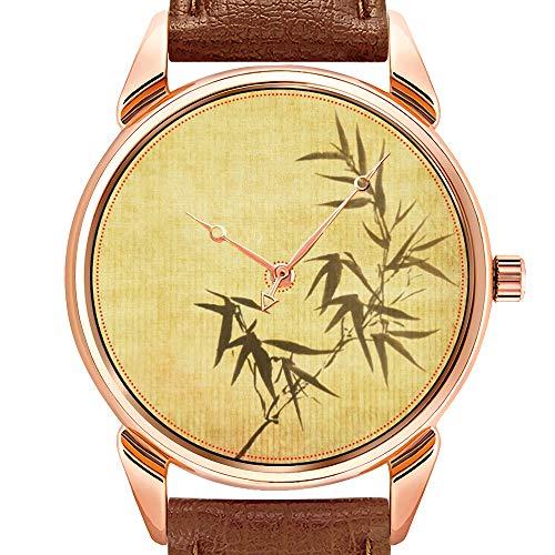 Herenhorloges mode kwartshorloge business waterdicht lichtgevend horloge heren bruin lederen horloge Grunge gevlokt bamboe papier achtergrond ronde wandklokken