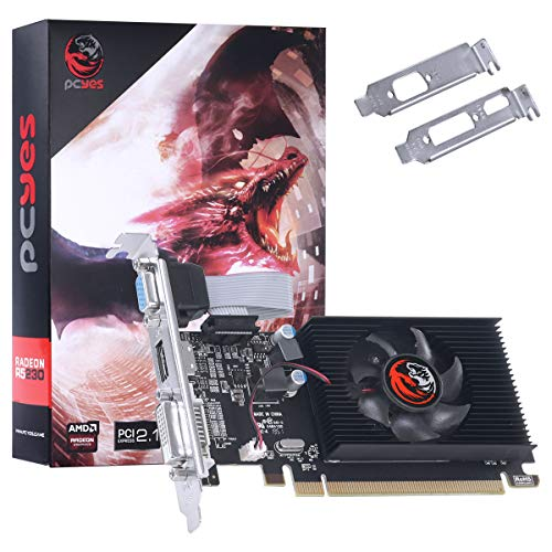 PLACA DE VIDEO AMD RADEON R5 230 2GB DDR3 64 BITS COM KIT LOW PROFILE SINGLE FAN - PA230R502D3LW