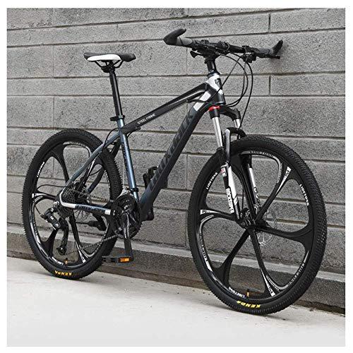 Chenbz Deportes al Aire Libre 21 montaña de la Velocidad de la Bici de 26 Pulgadas 6Spoke Rueda Delantera Suspensión de Doble Freno de Disco MTB Bicicletas, Gris