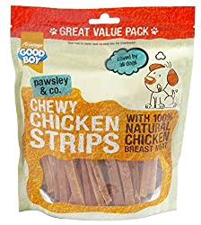 Good Boy Pawsley & Co Chicken Strips 350g ( x 3 packs ) Makes a loverly gift idea Good Boy Pawsley & Co Deli Treats , real meat treats made with 100 percent natural human grade meat are guaranteed to get dogs' tails wagging Good quality item Linked M...