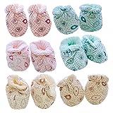 Lnrueg Baby Fäustlinge No Scratch 3 Paar Weiche Neugeborenenhandschuhe Mit 3 Paar Babyschuhe Kopf Handdusche Füße Schützend