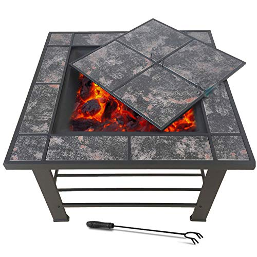 VEDKYY Firepits And Firebowls with Lid Bbq Grill Guard Tripod And Cover Large Patio Heater, Square Fire Pits Bowls for Garden Table Wood Burning Cast Iron Log Burner Outdoor Camping outside Heaters