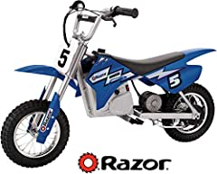 Scaled down, battery-powered electric moto-cross dirt bike for off-road riding Super quiet, single speed, chain driven motor with a twist grip throttle control Large knobby tires; hand operated rear brake and battery life is up to 30 min Speeds up to...