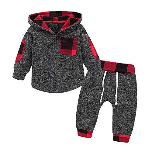 Fossen 6 Meses - 3 años Niño Cuadros Sudadera con Capucha Pantalones Conjunto de Ropa Otoño e Invierno