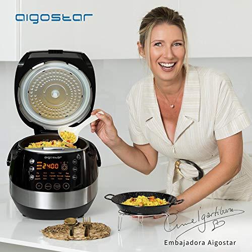 Aigostar Pentola a pressione Elettrica Classe Premium Happy Chef 38IWY, Multifunzione 7 in 1 con 15 funzione, Ricetta PDF online. Capacità di 5 Litri con pentola antianderente e 900W