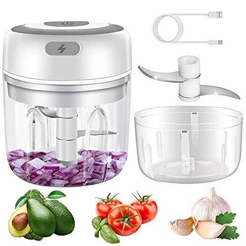 Electric Mini Garlic Chopper, 2 pack 250&100ml Food Chopper Electric, Onion Chopper Vegetable Processor/Slicer, USB Portable Mini Mincer Blender Mixer for Chili Pepper Vegetable Nuts, White