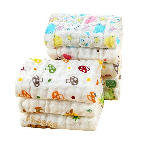 LOVARTS BEAUTY 4 Pcs/Lot Lindo dibujos animados 6 capas bebé algodón gasa muselina toallas de mano toallas