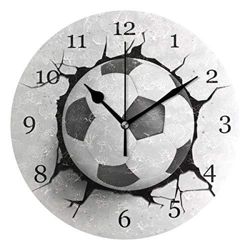 BIGJOKE Einzigartige Sport-Fußball-Wanduhr, batteriebetrieben, geräuschlos, nicht tickend, runde Uhr, leise für Büro, Schlafzimmer, Wohnzimmer, moderne Klassenzimmer, Zuhause, Hotel, dekorative Kinder