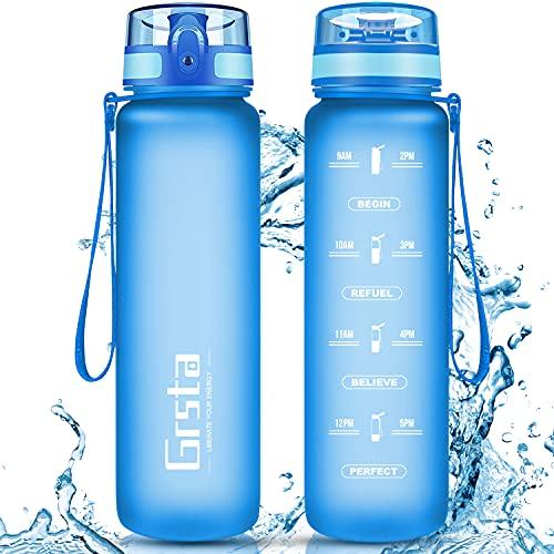 Grsta Trinkflasche, Sport Trinkflasche 350ml BPA-frei Sportflasche Kunststoff mit Filter Tritan Wasserflasche kohlensäure für Kinder, Fahrrad, Gym, Yoga, Outdoor, Camping