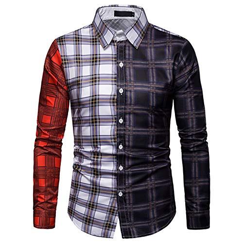 Camisas de Hombre, Camisa Informal de Manga Larga a Cuadros para Hombre, Botones completos, Color a Juego, Transpirable, Antiarrugas, sin decoloración, para Hombre