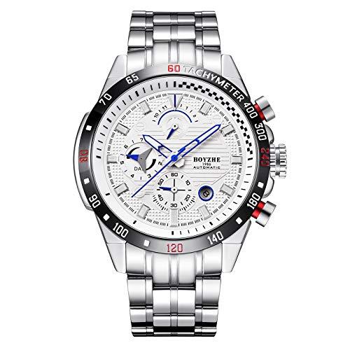 Reloj MecáNico Deportivo Simple De Moda Reloj Multifuncional AutomáTico De Negocios con Calendario Hueco para Hombres,A