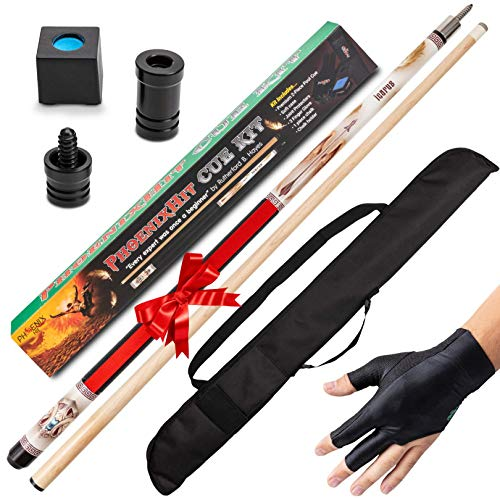"""PhoenixHit Pool Cue Stick Set - 58"""" Long Billiard Cue Stick, 19 Ounces with Accessories Included for a Memorable Billiard Experience in One Kit"""