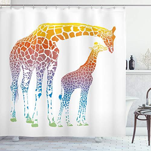 ABAKUHAUS Duschvorhang, Mutter & Kind Giraffen in Regenbogenfarben Abstrakte Illustration Weißer Hintergr& Bunt, Blickdicht aus Stoff inkl. 12 Ringe für Das Badezimmer Waschbar, 175 X 200 cm