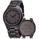 Customized Engraved Wooden Watches, Personalized Wood Watches for Men for Boyfriend My Man Fiancé Husband Dad Son Birthday Anniversary Graduation Christmas with Wooden Case (for Lover)