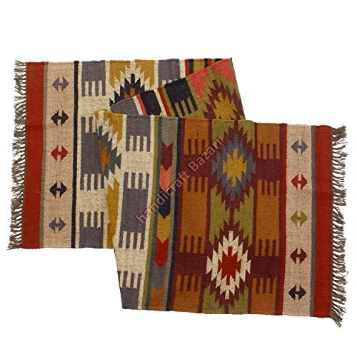 Handicraft Bazarr Handgewebter Woll-/Jute-Läufer / Kelim-Teppich, 6,3 x 20,3 cm