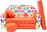 PRO COSMO F9Kinder Sofa Bett mit Puff/Fußbank/Kissen, Stoff, Orange, 168x 98x 60cm