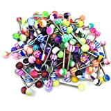 100PCS 14G Tongue Rings Assorted Surgical Stainless, Multicolour, Size No Size