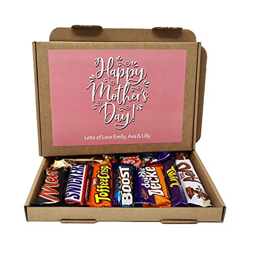 Personalised Mother's Day Chocolate Treats Box Gift Hamper Sweet Present - Lockdown - Hug in a box (Pink)