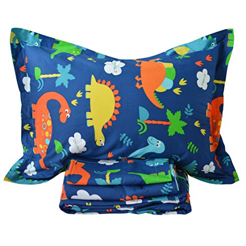king pillow for kids Brandream King Size Kids Bedding Sets Cotton Dinosaur Blue Sheets Set Deep Pockets 18 Inch 4-Piece Boy Bedroom Bed Sheet Set