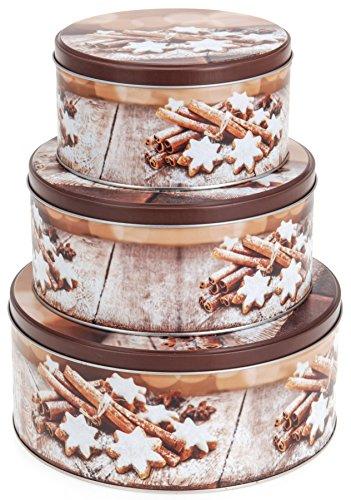 Gebäckdosen Plätzchendosen Blechdosen Zimtsterne 3-tlg. rund D 14/17/20 cm