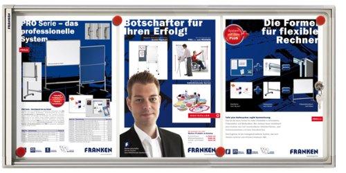 Franken FSA3 Flachschaukasten 3 x DIN A4, Metalloberfläche 73 x 37 x 3 cm
