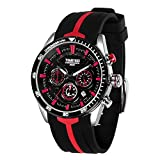 Time100 Renn-Serien Armbanduhr Herrenuhr Quarzuhr Chronographuhr Rot Silikon #W70103G.04A