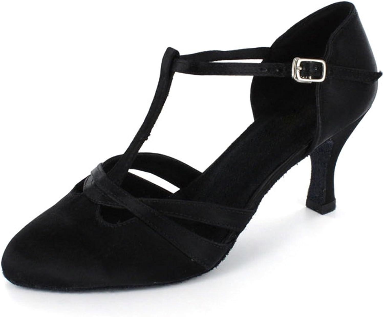 Yiteli Women's Closed Toe Ballroom Dance shoes,Black Satin,US4-12