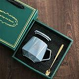 Tazza Creativa A Rombo, Tazza in Ceramica in Stile Rustico con Coperchio, Tazza da caffè per La Casa E Tazza per L'Acqua da Ufficio 401-500ml