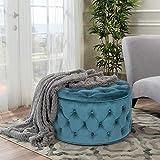 Homebeez Velvet Round Storage Ottoman, Button Tufted Footrest Stool Bench (Dark Teal)