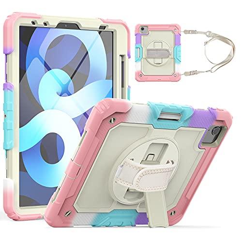 HaoHZ Custodia per iPad PRO 11 2a/3a Generazione 2021/2020/2018 con Portamatite, Custodia Protettiva in Silicone Antiurto + Supporto + Tracolla per Maniglia,Pink 2