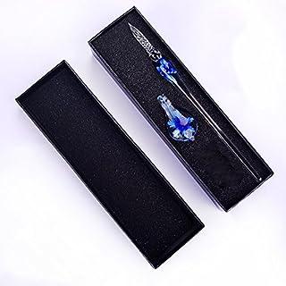 ガラスペン 万年筆 ねじり ペン サインペン 透明 文房具(インライン花) (ブルー)