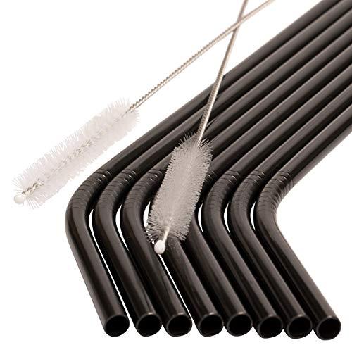JOHSEATY - Cannucce riutilizzabili in acciaio inox di alta qualità, 8 pezzi, curve, 21,5 x 0,6 cm + 2 spazzole testate, lavabili in lavastoviglie, riutilizzabili, in metallo