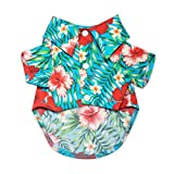 "United Pups Hawaiian Shirt for Dogs Small to Medium Pets Cats Design for Summer Luau Style Beach Camp Vacation Floral Puppy T-Shirt (Chill Pups Blue, Size 2: Max Neck 11"" Chest 16"") Blue Size 2"