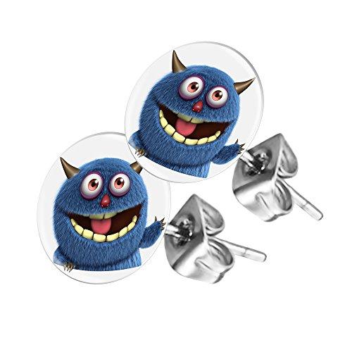 Piersando Ohrstecker Ohrringe Runde Kleine Stecker für Damen oder Kinder Silber mit Comic blaues Monster Motiv