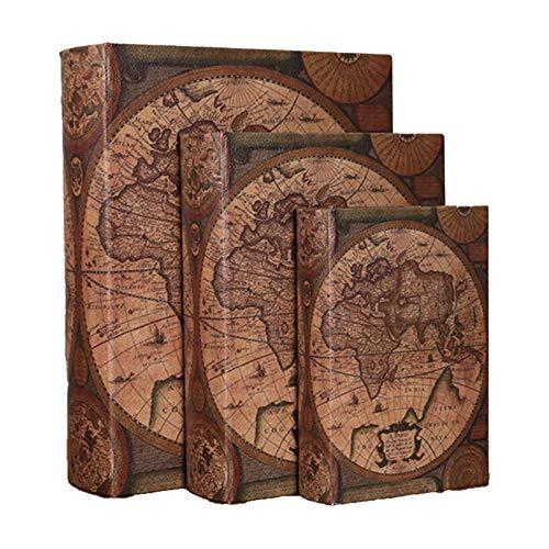 Book Keep Safe Vintage Monet Joyas Llaves Caja De Almacenamiento Regalo Decorativo Caja De Libros Antiguos Caja De Almacenamiento De Libros De Imitación Vintage Juego De Regalo(Size:3-Pack,Color:mapa)