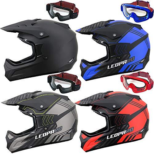 Leopard LEO-X307 Motocrosshelme Schwarz Matt/Silber XXL (63-64cm) + Erwachsene Motocross Zorax Brille Motorradhelm Damen und Herren ECE Genehmigt