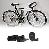Bestine Soporte de pared para bicicleta con pedal de montaje en pared, soporte de almacenamiento horizontal para bicicleta, 3 en 1