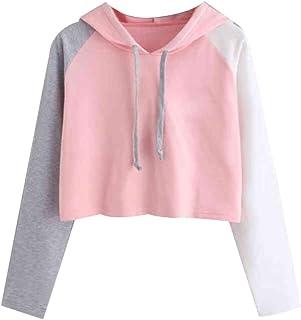 Bestwo Women's Long Sleeve Hoodie Sweatshirt Patchwork Drawstring Casual Pullover Crop Top